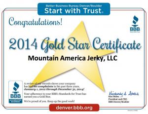 MAJ BBB Gold Star Award